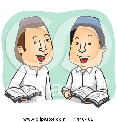 Clipart of Cartoon Muslim Men Discussing the Quran - Royalty Free Vector Illustration by BNP Design Studio