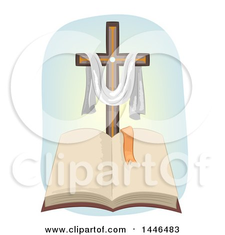 Clipart of a Christian Cross with a Draped Cloth over an Open Bible - Royalty Free Vector Illustration by BNP Design Studio