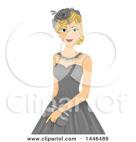 Clipart of a Happy Blond White Woman Wearing a Vintage Lace Dress with a Hat - Royalty Free Vector Illustration by BNP Design Studio