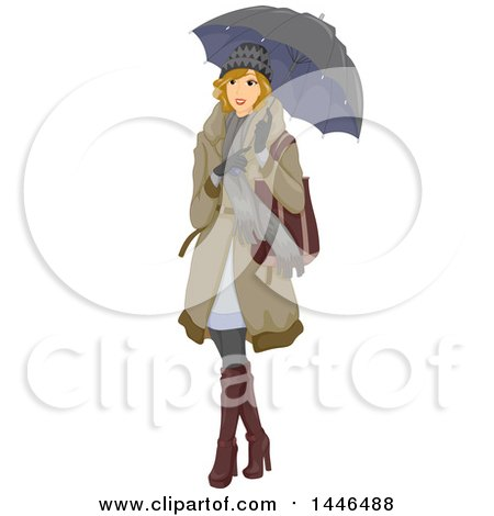 Clipart of a Happy Blond White Woman Holding an Umbrella and Wearing Winter Clothing - Royalty Free Vector Illustration by BNP Design Studio