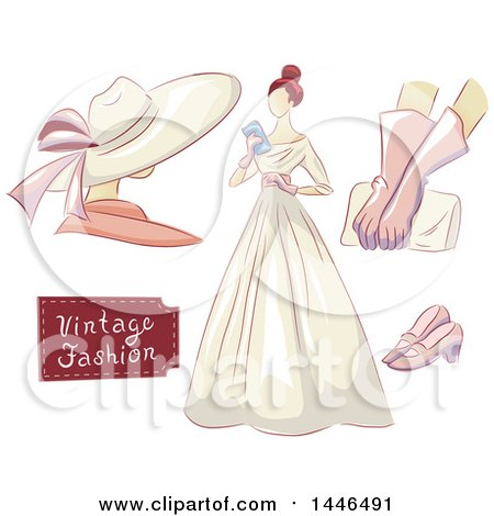 Clipart of a Woman in a Vintage Dress, with a Mannequin, Gloves, Clutch, and Shoes - Royalty Free Vector Illustration by BNP Design Studio