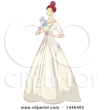 Clipart of a Woman Holding a Clutch and Wearing a Beautiful Vintage Gown - Royalty Free Vector Illustration by BNP Design Studio