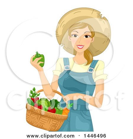 Clipart of a Happy Blond White Farmer Woman Holding a Basket of Harvest Vegetables - Royalty Free Vector Illustration by BNP Design Studio