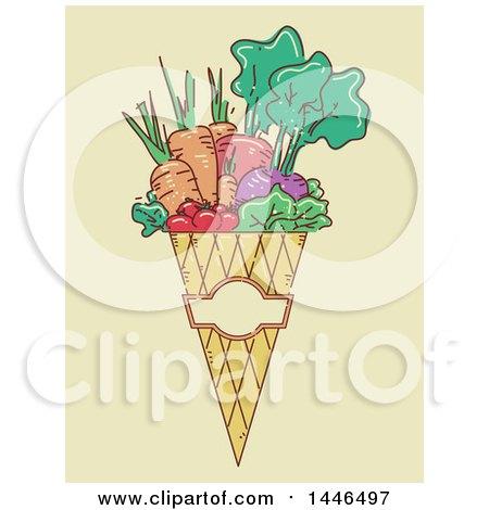 Clipart of a Sketched Cone of Harvest Vegetables over Beige - Royalty Free Vector Illustration by BNP Design Studio