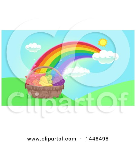 Clipart of a Basket of Healthy Fruits and Vegetables at the End of a Rainbow - Royalty Free Vector Illustration by BNP Design Studio