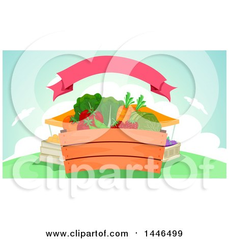 Clipart of a Crate of Fresh Fruits and Vegetables at a Market Under a Ribbon - Royalty Free Vector Illustration by BNP Design Studio
