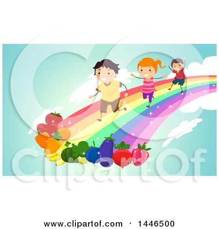 Group of Happy Children Running on a Rainbow Towards Fruits and Vegetables Posters, Art Prints