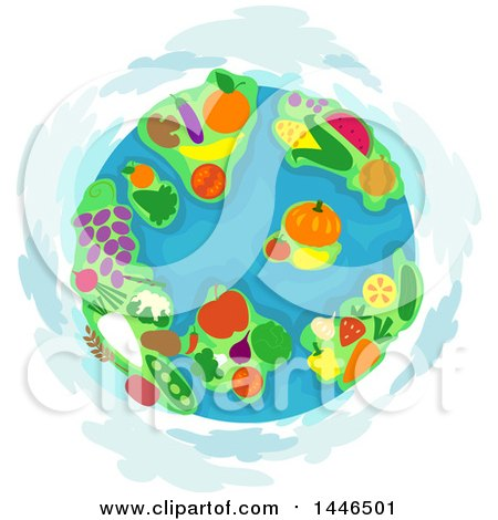 Clipart of a Globe with Fruit and Vegetable Continents - Royalty Free Vector Illustration by BNP Design Studio