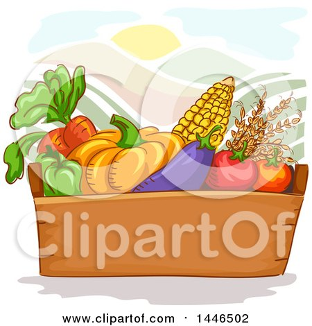 Clipart of a Box of Fresh Fruits and Vegetables over Hills and a Sun - Royalty Free Vector Illustration by BNP Design Studio