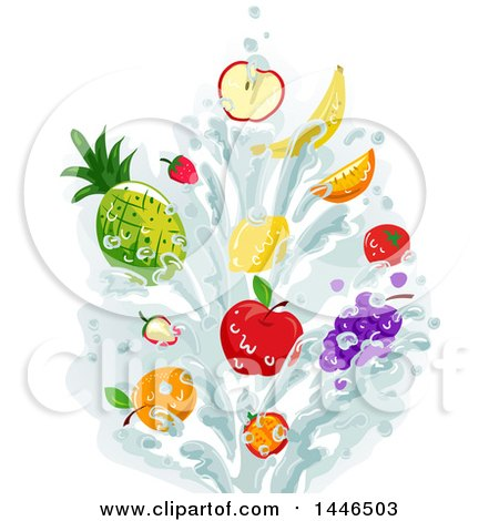 Clipart of a Water Splash with Fruit - Royalty Free Vector Illustration by BNP Design Studio