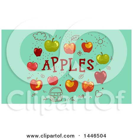 Clipart of Doodles and Apples with Text on Green - Royalty Free Vector Illustration by BNP Design Studio