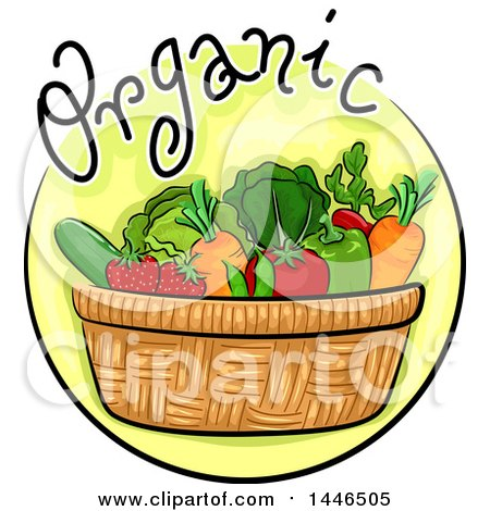 Clipart of a Round Icon of Organic Vegetables in a Basket - Royalty Free Vector Illustration by BNP Design Studio