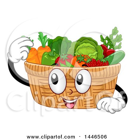 Clipart of a Happy Basket Mascot Filled with Produce - Royalty Free Vector Illustration by BNP Design Studio