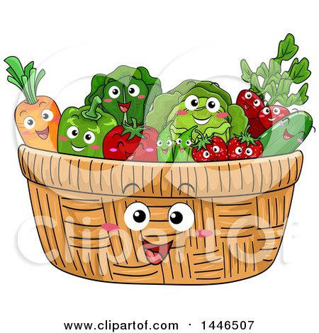 Clipart of a Happy Basket Mascot Filled with Produce Characters - Royalty Free Vector Illustration by BNP Design Studio