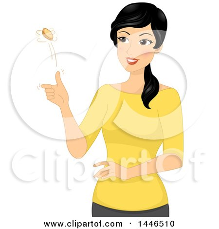 Clipart Of A Happy Black Haired Woman Flipping A Coin Royalty Free Vector Illustration