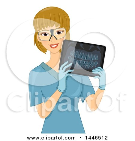 Clipart of a Happy Blond White Female Radiology Technician Holding an Xray of Teeth - Royalty Free Vector Illustration by BNP Design Studio