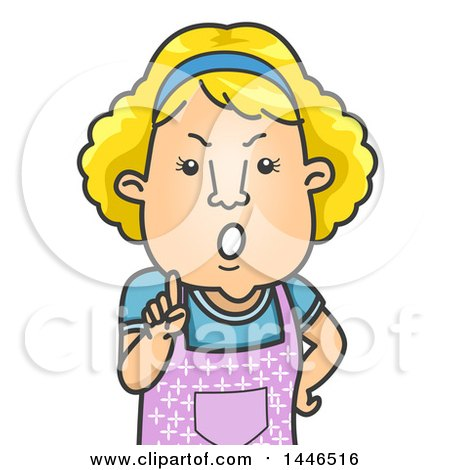 Clipart Of A Cartoon Angry Blond White Mother Or Wife Holding Up A Finger And Giving A Lecture Royalty Free Vector Illustration
