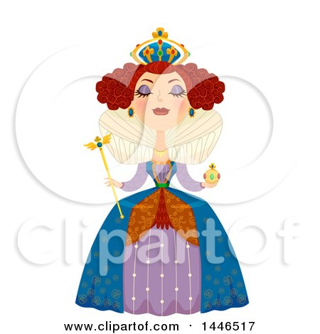 Clipart of a Snooty White Queen Holding a Scepter - Royalty Free Vector Illustration by BNP Design Studio