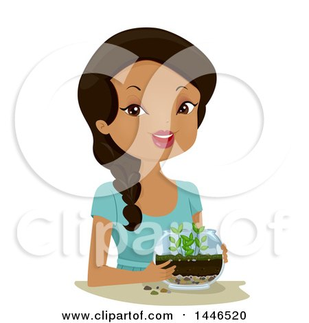 Clipart Of A Happy Black Woman Holding A Terrarium Royalty Free Vector Illustration