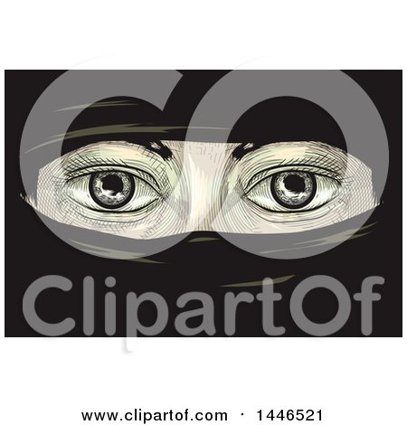 Clipart of a Cross Hatching Sketched Styled Pair of Eyes of a Woman in Niqab - Royalty Free Vector Illustration by BNP Design Studio