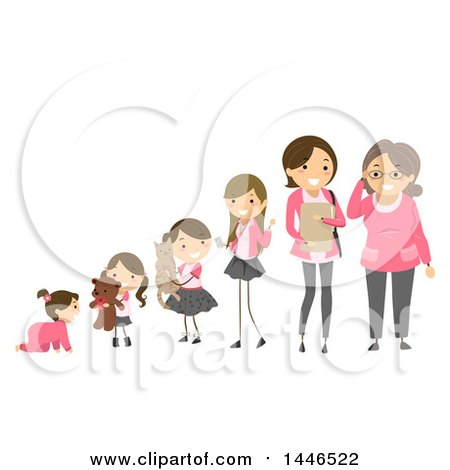 Clipart of a Line of Girls to Women Showing Development from Baby to Senior - Royalty Free Vector Illustration by BNP Design Studio