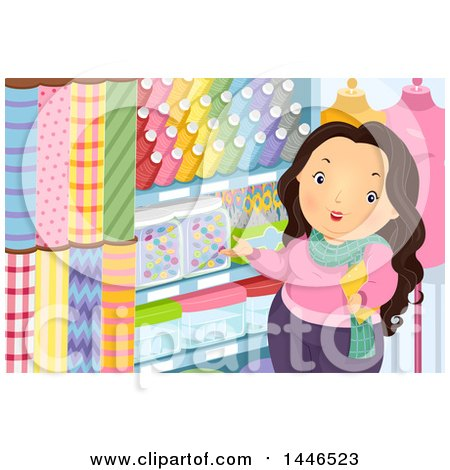 Clipart of a Chubby Brunette White Woman Shopping for Fabric and Sewing Accessories - Royalty Free Vector Illustration by BNP Design Studio