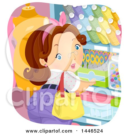 Clipart of a Chubby Brunette White Woman Shopping for Sewing Notions - Royalty Free Vector Illustration by BNP Design Studio