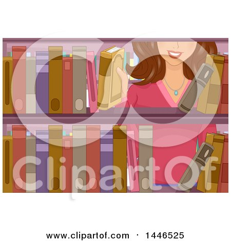 Clipart of a Happy Brunette White Woman Selecting a Book from a Library Shelf - Royalty Free Vector Illustration by BNP Design Studio