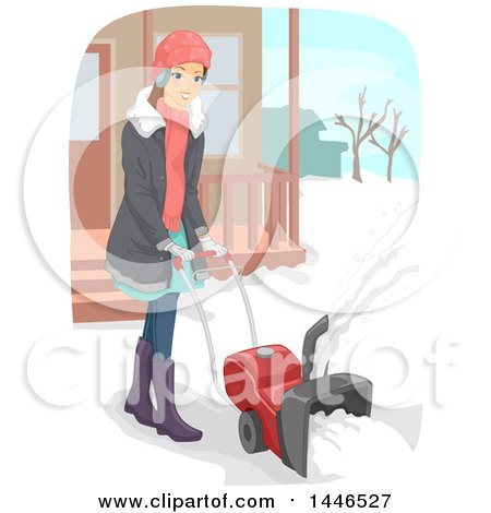 Clipart of a Happy Brunette White Woman Using a Snow Blower - Royalty Free Vector Illustration by BNP Design Studio