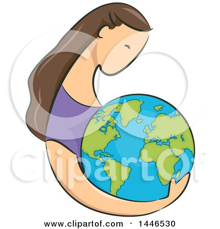 Clipart of a Sketched Profiled Brunette White Woman Holding Planet Earth - Royalty Free Vector Illustration by BNP Design Studio