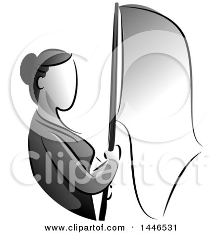 Clipart of a Grayscale Stateless Woman Holding a Flag - Royalty Free Vector Illustration by BNP Design Studio