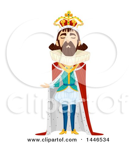 Clipart of a Snooty Male King Presenting - Royalty Free Vector Illustration by BNP Design Studio