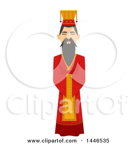 Clipart of a Chinese Emperor in a Hanfu - Royalty Free Vector Illustration by BNP Design Studio