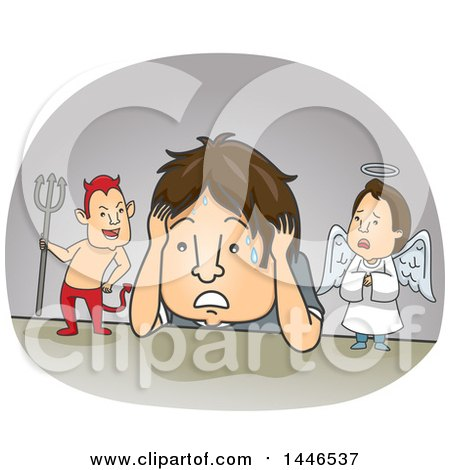 Clipart of a Cartoon Brunette White Man Being Confused by Good and Evil - Royalty Free Vector Illustration by BNP Design Studio