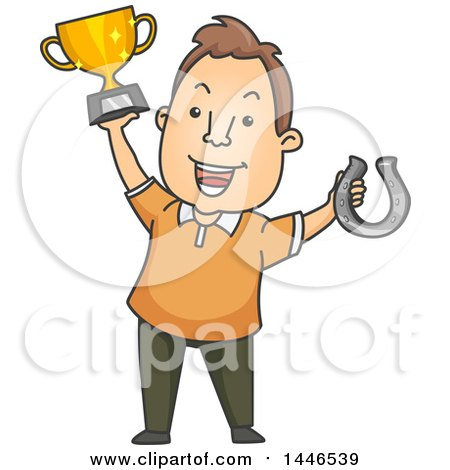 Clipart of a Cartoon Brunette White Man Holding up a Winner Trophy and Horse Shoe - Royalty Free Vector Illustration by BNP Design Studio