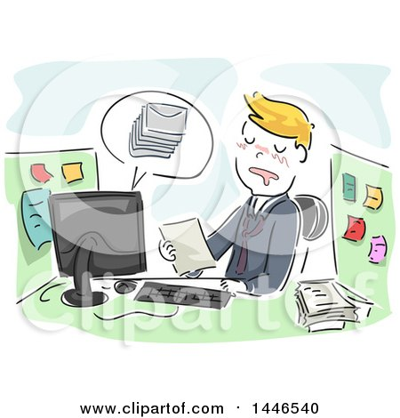 Clipart of a Sketched Cartoon Blond Business Man Sleeping at His Desk While Working on a Document - Royalty Free Vector Illustration by BNP Design Studio