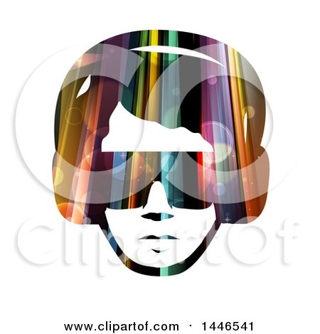Clipart of a Colorful Lights and Flares Male Face with Glasses and Headphones - Royalty Free Vector Illustration by BNP Design Studio