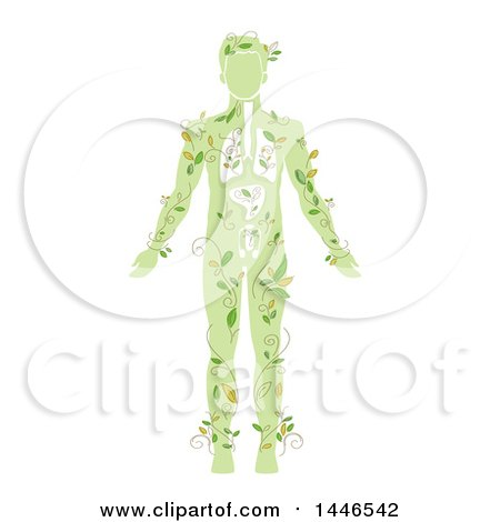 Clipart of a Green Silhouetted Man with Vines and Visible Organs - Royalty Free Vector Illustration by BNP Design Studio
