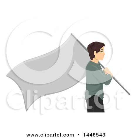 Clipart of a Profiled Stateless Man Carrying a Blank Flag - Royalty Free Vector Illustration by BNP Design Studio
