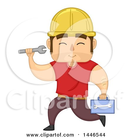 Cartoon Strong Brunette White Male Worker Running with a Tool Box and Wrench Posters, Art Prints