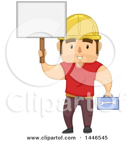 Clipart of a Cartoon Strong Brunette White Male Worker Holding a Tool Box and Blank Sign - Royalty Free Vector Illustration by BNP Design Studio