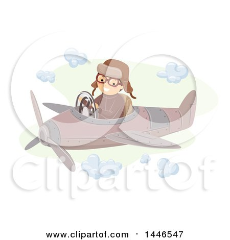 Clipart of a Happy Aviator Flying a Vintage Plane - Royalty Free Vector Illustration by BNP Design Studio