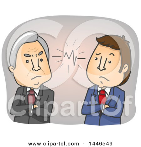 Clipart of Cartoon Senior and Middle Aged Business Men in a Conflict Due to a Generation Gap - Royalty Free Vector Illustration by BNP Design Studio