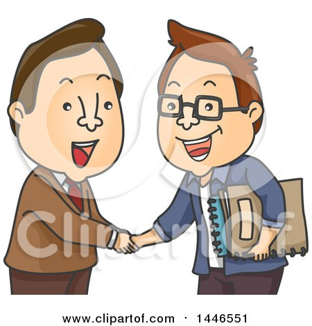 Cartoon White Business Men Shaking Hands, One Holding Manuscripts Posters, Art Prints