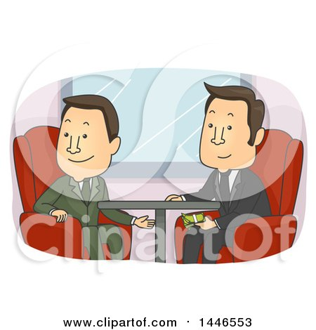 Clipart Of Cartoon White Business Men Exchanging Dirty Cash Money Under A Table Royalty Free Vector Illustration