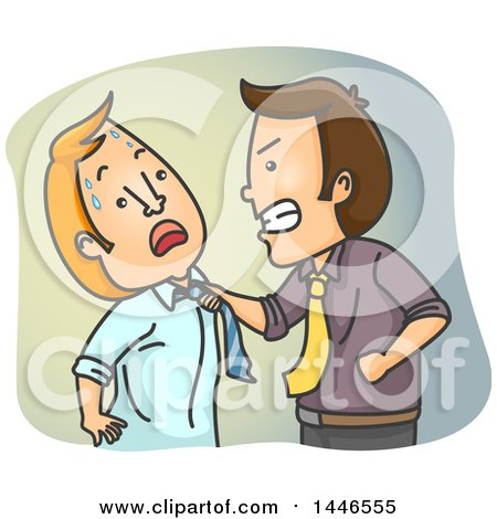 Clipart Of A Cartoon White Business Man Physically Attacking A Colleague Royalty Free Vector Illustration
