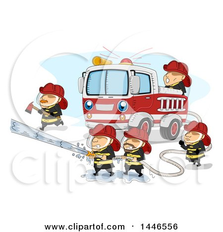 Clipart of a Team of Fire Men Working Around a Truck to Extinguish a Fire - Royalty Free Vector Illustration by BNP Design Studio