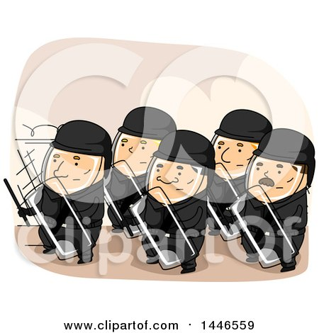 Clipart of a Group of Riot Police in a Defensive Stance - Royalty Free Vector Illustration by BNP Design Studio