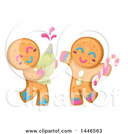 Clipart of Happy Gingerbread Cookie Characters Playing with Icing - Royalty Free Vector Illustration by BNP Design Studio