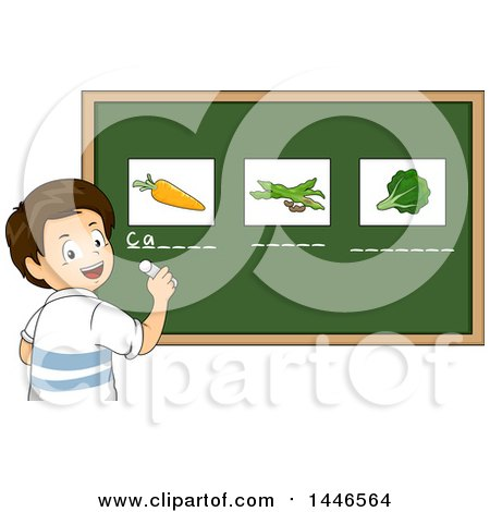 Clipart of a Happy Brunette White School Boy Writing the Names Under Vegetables on a Chalkboard - Royalty Free Vector Illustration by BNP Design Studio